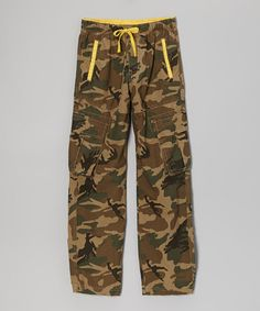 Take a look at this Tan Camo Cargo Pants - Boys by Camp & Campus on #zulily today!