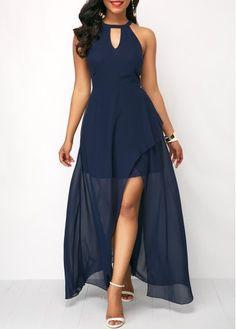 0870f527fca5 Navy Blue Chiffon Overlay Keyhole Neckline Maxi Dress