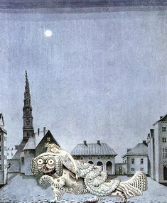 "kay nielsen. the tinder box - hans christian andersen. ""in the night, the dog came again..."""