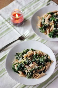 Whole Wheat Penne with Kale and White Beans - a surprisingly flavorful inexpensive, quick meal. One of my favorite pasta dishes ever!