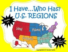 This I Have…Who Has… game has 32 U.S. Regions questions for students to practice in a fun whole-class game format. This is a great review for standardized test. The terms in this game are suitable for grades 3-5. $