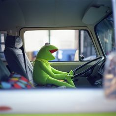 Kermit blasts the radio in his car and sings along Because Kermit is awesome!