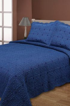 Melange Home Diamond Denim Reversible Quilt Set - Denim Blue
