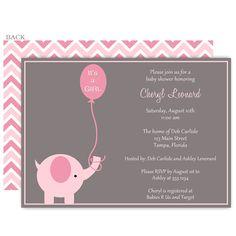 42 best baby shower elephant invitations images on pinterest baby elephant balloon pink baby shower invitation filmwisefo