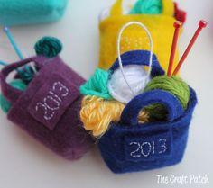 Mini knitting ornaments