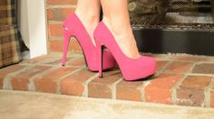 Trying on New Pink Suede High Heel Platform Pumps - Gift From Another Fa...