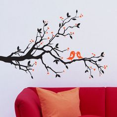 details about cat on a branch with birds wall stickers wall decals - Wall Stickers Designs