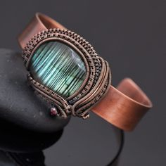 blue labradorite, labradorite cuff, labradorite jewelry, wire wrap jewelry, wire wrap cuff, cuff bracelet, copper jewelry, copper cuff, nicole hanna jewelry