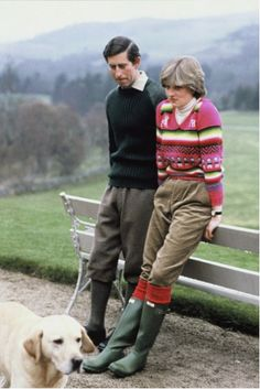 Hunter boots- 20 years ago:Princess Di, what a beautiful couple.