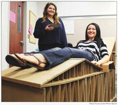 #Baylor Interior Design students demonstrate the fully-functional lounge chair they built from only re-purposed cardboard and glue.