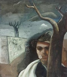 Felix Nussbaum (German-Jewish: 1904 – 1944) - Self Portrait with apple blossom, 1939
