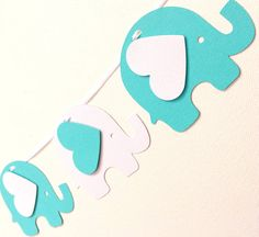 Elephant Garland Turquoise & White. Baby shower, birthday party, Tiffany Blue inspired party decorations. by MyPaperPlanet