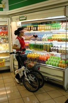 Simple One bicycle folds into shopping cart--i WANT THIS!