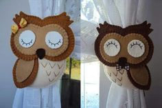 Prendedor de cortina Owl Crochet Patterns, Owl Patterns, Home Crafts, Easy Crafts, Diy And Crafts, Donald Y Daisy, Curtain Holder, No Sew Curtains, Crocodile Stitch