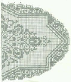 Home Decor Crochet Patterns Part 143 - Beautiful Crochet Patterns and Knitting Patterns Filet Crochet Charts, Crochet Cross, Crochet Diagram, Crochet Home, Crochet Table Runner, Crochet Tablecloth, Crochet Doilies, Oval Tablecloth, Lace Patterns
