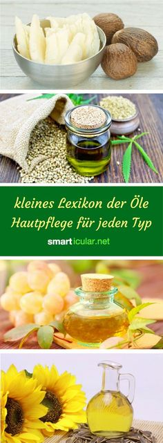 Kleines Lexikon der Öle – Hautpflege für jeden Typ The right oil for pimples, wrinkles, dryness or redness – here you will find everything you need to know to maintain your skin type with self-made cosmetics made from vegetable oils. Organic Skin Care, Natural Skin Care, Natural Health, Organic Beauty, Diy Skin Care, Skin Care Tips, Homemade Cosmetics, Les Rides, Natural Cosmetics