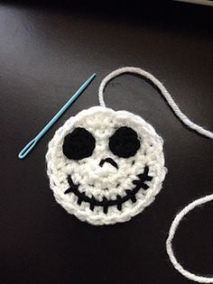 This Jack Skellington applique can be made larger or smaller by changing your hook size. It takes very little yarn and is very quick to work up.
