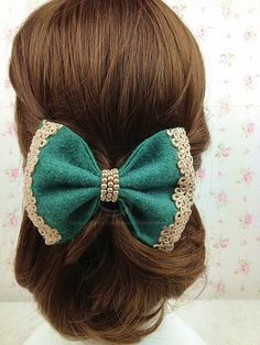 Sweet Lace Jacquard and Beads Embellished Woolen Bowknot Hair Clip For Women (COLOR ASSORTED) | Sammydress.com