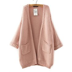 SheIn(sheinside) Pink Batwing Sleeve Pockets Knit Cardigan