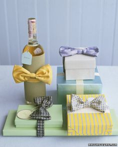 Bow Tie Wrap:  Instead of gift-boxing a tie this year, why not tie a gift box? Bow ties fit around many small gifts, and both the traditional and pre-tied kinds will work.  (Learn How to Make This Gift via Martha Stewart)