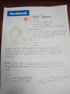 Create Facebook pages for the characters in a novel. very relevant and still gets the kids thinking