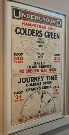 Hampstead line, Golders Green, by unknown artist, 1912. Taken at the London Transport Museum.