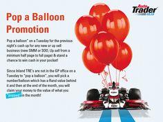 Auto Trader pop a ballon promotion mailer