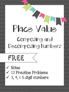 This resource includes notes and 12 practice problems. The questions can be used for centers, group work, guided practice, independent practice, homework or assessment. Check out my other place value products:Place Value Multiple RepresentationExpande Teaching Second Grade, Fifth Grade Math, Teaching Math, Fourth Grade, Third Grade, Teaching Ideas, Daily 5 Math, Math 2, Teaching Place Values