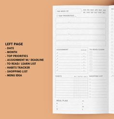 At A Glance Weekly Planner Ver.1.0 ▹ for Midori Travellers notebook Regular size Printable At A Glance Weekly Planner in minimal layout This 2 Weekly Planner are contain all list / space for everything you need to get thing done in 1 week ▹ Date ▹ Top Priorities ▹ Assignment with Deadline