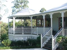 Elegant from all sides! Veranda Railing, Queenslander House, Front Steps, Outdoor Living, Outdoor Decor, Perfect Place, Master Bedroom, Deck, Places