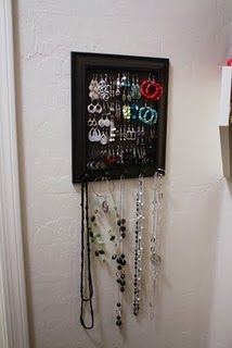 A jewelry organizer made using plastic canvas and a picture frame! [ #diy #crafts #jewelry #organizer ]