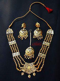 punjabi traditional jewellery rani haar Maharani Haar Bhangra Giddha Jewelery set of Necklace Earrings Tikka Punjabi Traditional Jewellery, Prom Necklaces, Indian Jewelry, Tikka Jewelry, Gold Jewelry Simple, Gold Jewellery Design, Selling Jewelry, Custom Jewelry, Earings Gold