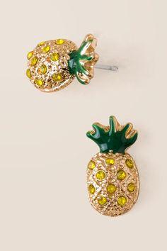 Pineapple Pavé Stud Earring