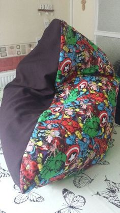 Reversible Marvel Themed Beanbag Cover Removable Washable As Filling Is Sewn Into A Bag