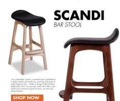 Our walnut Erik Buck replica barstool, here in black has great vintage Danish modern appeal in bar stool perfect for your modern kitchen counter dining area. Kitchen Seating, Kitchen Stools, Counter Stools, Bar Stools, Walnut Stain, Walnut Finish, Italian Leather, White Leather, Modern Kitchen Counters
