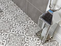 Devonstone Grey Satin floor tile by British Ceramic Tile Traditional looking grey patterned feature floor tile design. Ceramic Floor Tiles, Bathroom Floor Tiles, Morrocan Tiles Bathroom, Wall Tiles For Kitchen, Morrocan Floor Tiles, Porcelain Floor, Moroccan Tiles, Moroccan Decor, Devon