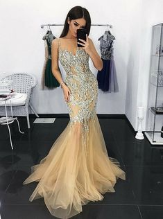 Mermaid Illusion Neck Champagne Tulle Prom Dress with Appliques Sequins 5a30cdd7f8a5