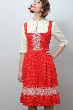 Vintage red and white embroidered dirndl / by HopscotchandSoda, $95.00