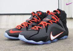 negozio scarpe Nike Lebron 12 Nero/Rosso carminio brillante/Bianco 684593-016 Uomo