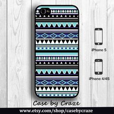 Tiffany Blue Aztec iPhone 4 Case iPhone 4S Case Hard Case Tribal Pattern skyblue black style Print iPhone 5 Back Cover --000079. $9.99, via Etsy.