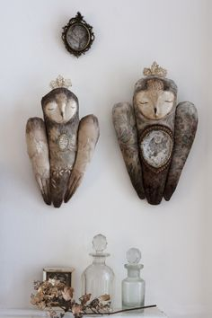 "Owl Sculptures made with cloth, clay and Moroccan quartz ""Josephine and Aurora"" by Pantovola"