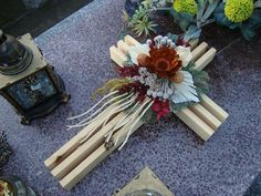 . Funeral Flower Arrangements, Funeral Flowers, Floral Arrangements, Remembrance Flowers, Cemetery Decorations, Cemetery Flowers, Cross Art, Sympathy Flowers, Autumn Wreaths