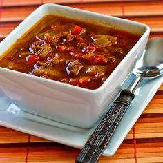 Goulash Soup with Ground Beef, Red Peppers, Cabbage, and plenty of Paprika!