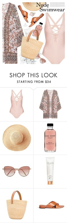 """""""bare it all: nude swimwear"""" by jesuisunlapin ❤ liked on Polyvore featuring Topshop, Frogbox, Toast, Bobbi Brown Cosmetics, Cutler and Gross, Ermanno Scervino, Mansur Gavriel, beachwear, strawbags and kimono"""