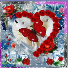 hearts of roses Beautiful Love Pictures, Beautiful Gif, Love Images, Beautiful Roses, Butterfly Flowers, Beautiful Butterflies, Hugs And Kisses Quotes, Valentines Day Poems, Love You Gif