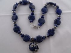 statement necklace Lapis Lazuli beads round by HanoverMerryMakers, £24.95