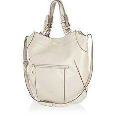 Grey structured curve tote bag £37.00
