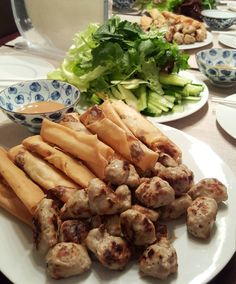 got ram nem nuong - homemade vietnamese meatballs,  crispy shrimp rolls wrapped in greens and rice paper with peanut dipping sauce from my sis   #nemnuong #nemnuongcuon #homemadefood #vietfood #vietnamesefood #lowcarbdiet day 12 #lowcarb
