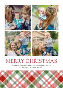 Mixbook Seasonal Plaid Collage Christmas Cards