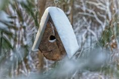 Architect-Designed Log Wedge Birdhouses